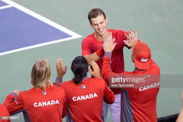 on February 03 at TD Place Arena Vasek Pospisil high fives his Team Canada teammates after his 30 win over Kyle Edmund of Great Britain in the BNP...
