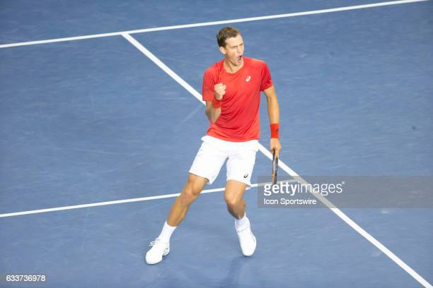 on February 03 at TD Place Arena Vasek Pospisil of Canada celebrates his 30 victory over Kyle Edmund of Great Britain in the BNP Paribas Davis Cup...