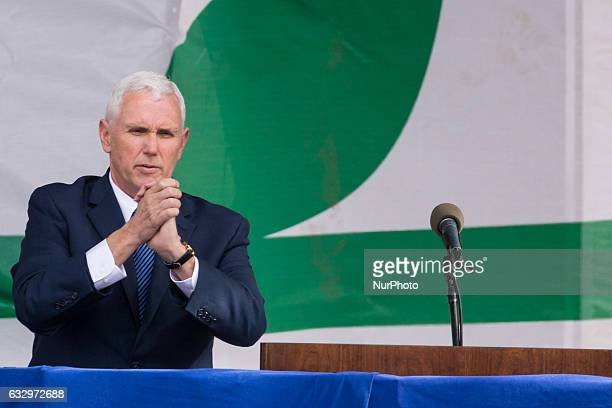 On Friday January 27 US Vice President Mike Pence says goodbye after addressing participants gathered for the 44th Annual March For Life at the base...