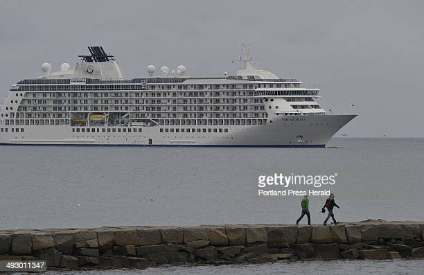 On Friday October 12 2012 The World a privately owned condominium ship visits Rockland and moors just outside the Rockland Breakwater Light causeway...