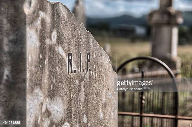 R.I.P. on Gravestone in Graveyard