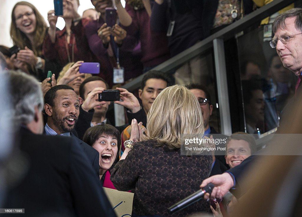 On her last official day as Secretary of State, Hillary Clinton says farewell to the US State Department staff at the State Department on Friday, February 1, 2013. Senate John Kerry will be sworn in as the Secretary of State Friday afternoon.