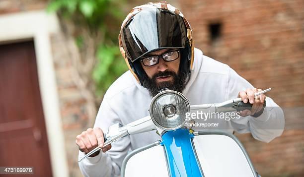 on his motorbike