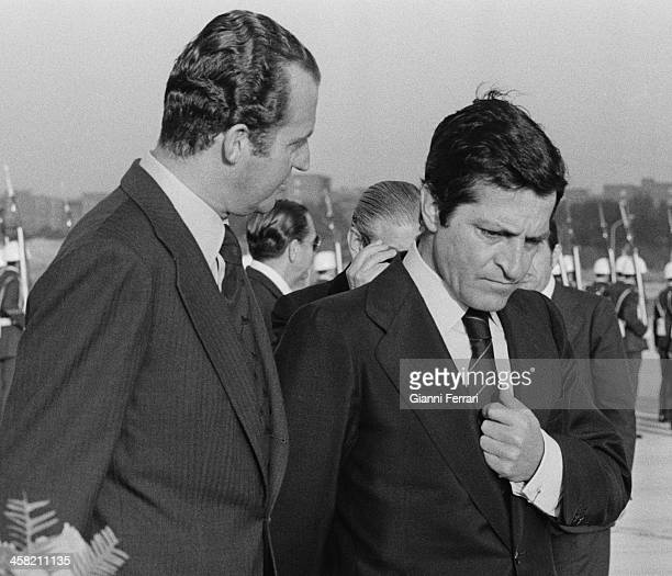 On his return from an official trip to China the Spanish King Juan Carlos is received at Barajas airport by the Spanish President Adolfo Suarez 24th...