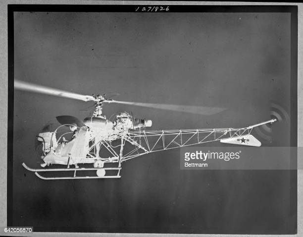 On its first flight is the Bell XH13F helicopter the first of its series to be powered by a turbine engine The XH13F developed by Bell and the Air...