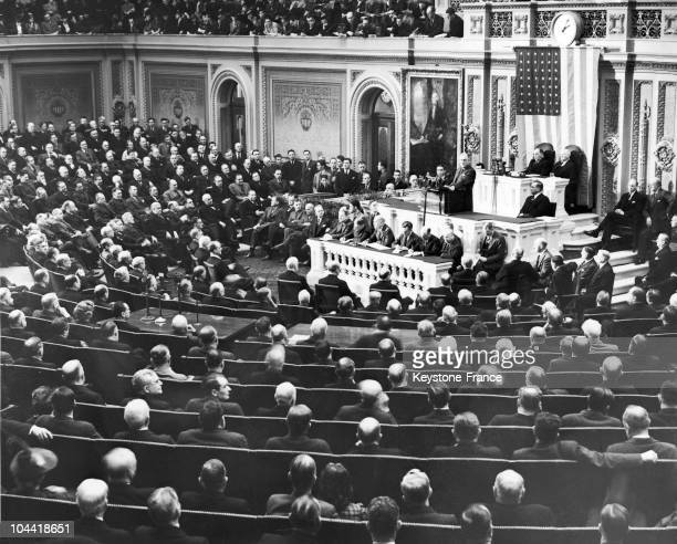 On January 6 President Of The United States Franklin Delano Roosevelt Presenting Before The Members Of The House Of Representatives And Congress The...