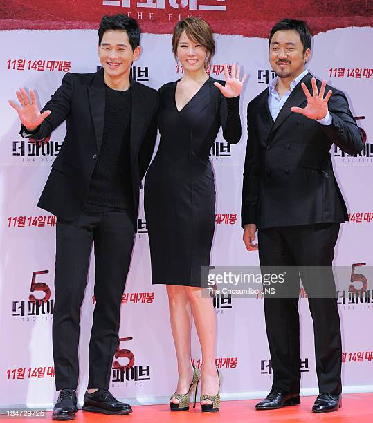 On JooWan Kim SunA and Ma DongSeok attend the 'The Five' press conference at Apgujeong CGV on October 15 2013 in Seoul South Korea