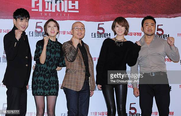 On JooWan Lee ChungAh director Jung YeonSik Kim SunA and Ma DongSeok attend the 'The Five' press conference at Wangsimni CGV on November 5 2013 in...