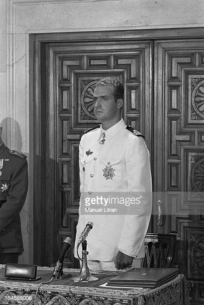 On July 24 1969 in the Palace of Cortes in Madrid Spain JUAN CARLOS portrait became Prince of Spain and official successor of Franco standing dressed...