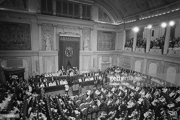 On July 24 general view of the Palace of Cortes in Madrid Spain and Franco makes JUAN CARLOS became Prince of Spain his official successor