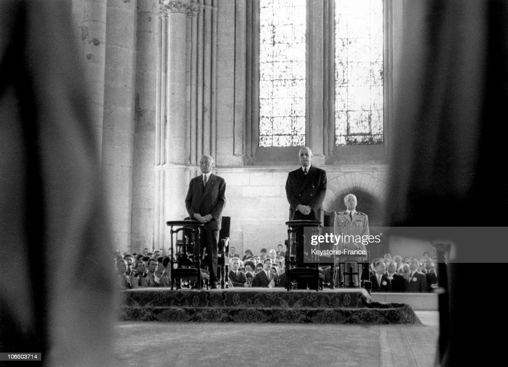 On July 8 German Chancellor Konrad Adenauer On Official Visit Attending With General De Gaulle President Of The French Republic A Big Mass At The...