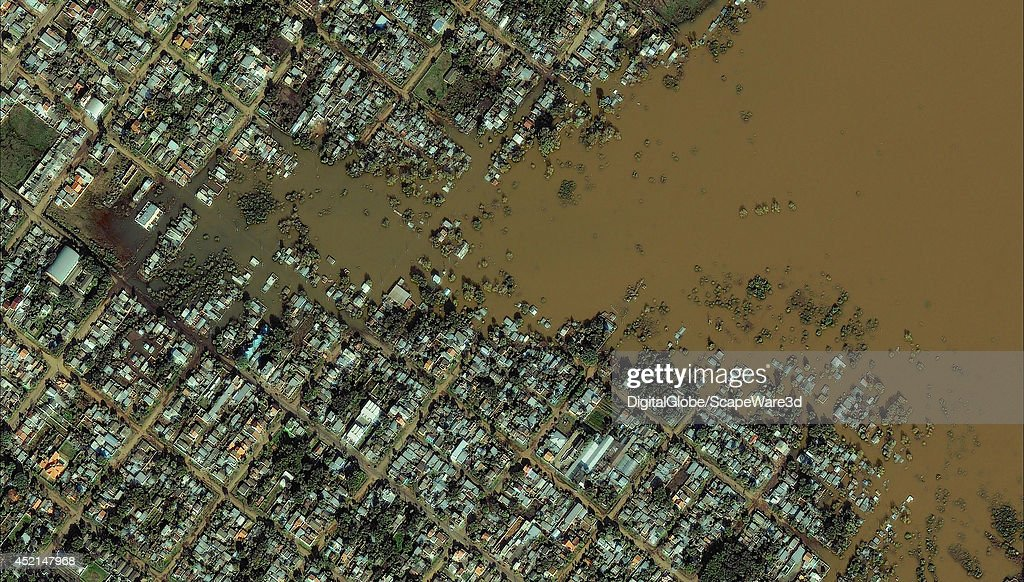 FLOODING, URUGUAINA, BRAZIL - JULY 8, 2014: On July 8th, 2014, DigitalGlobe's QuickBird Satellite collected a cloud-free image over Uruguaiana, Brazil, showing extensive flooding in the region.