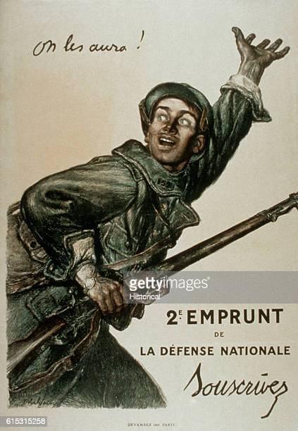 On les aura 2e Emprunt de la Defense Nationale / Souscrivez We will beat them 2d National Defense Loan Subscribe 1916 Color poster by Jules Abel...