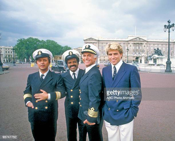 BOAT On location 6/21/84 Pictured from left Fred Grandy Ted Lange Gavin MacLeod and Ted McGinley in Stockholm Sweden