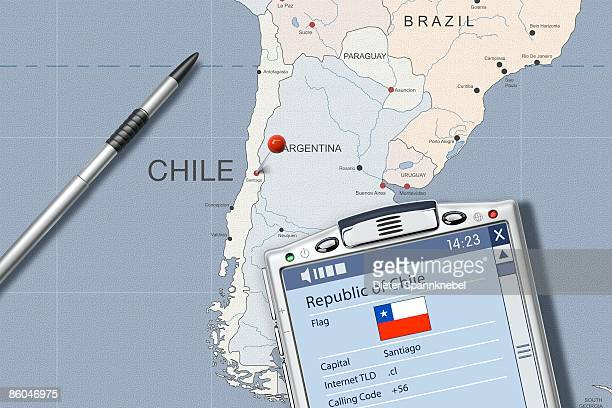 PDA on map of Chile displaying info