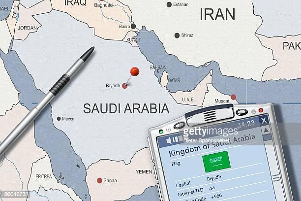 PDA on map of Saudi Arabia displaying info