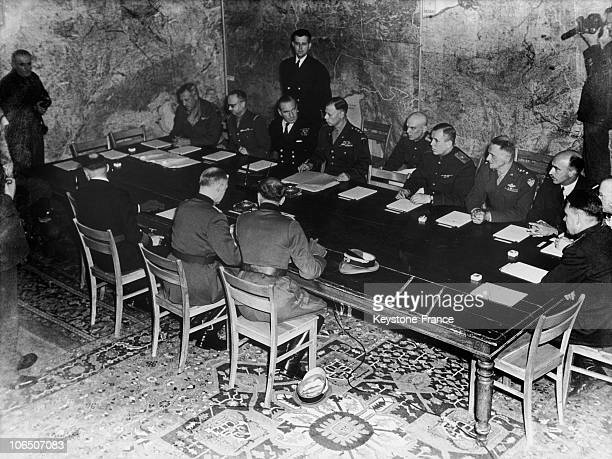 On May 7 In The Headquarters Of General Alfred Jodl Head Of The Operations Section Of Okw Signing The Act Of German Surrender Of All German Land Sea...