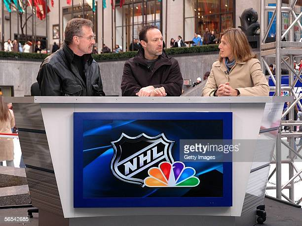 NHL on NBC hosts Bill Clement and Ray Ferraro discuss NHL hockey with guest host USA hockey olympian great Cammi Granato at a rehearsal of the new...