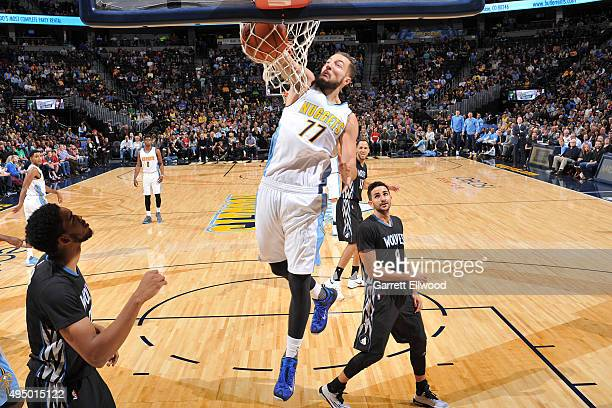 on October 30 2015 Joffrey Lauvergne of the Denver Nuggets dunks Minnesota Timberwolves during the game at the Pepsi Center in Denver Colorado NOTE...