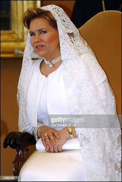 On official visit to Rome Grand Duke Henri of Luxembourg Grand Duchess Maria Teresa and their children Guillaume Felix Louis Alexandra and Sebastien...