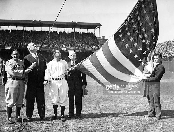 WASHINGTON APRIL 1925 On opening day at Griffith Stadium in Washington DC in 1925 the flag raising ceremony involved Yankee manager Joe McCarthy far...