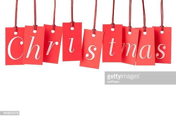Étiquettes de Noël rouge