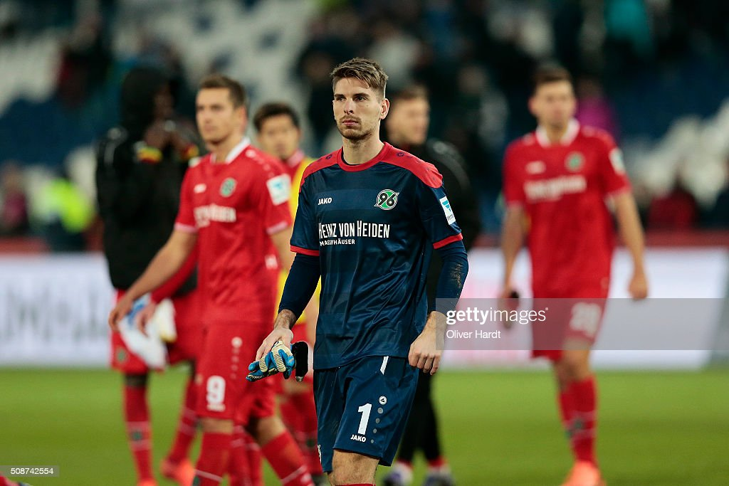 on Robert Zieler of Hannover appears frustrated after the first Bundesliga match between Hannover 96 and 1. FSV Mainz 05 at HDI-Arena on February 6, 2016 in Hanover, Germany.