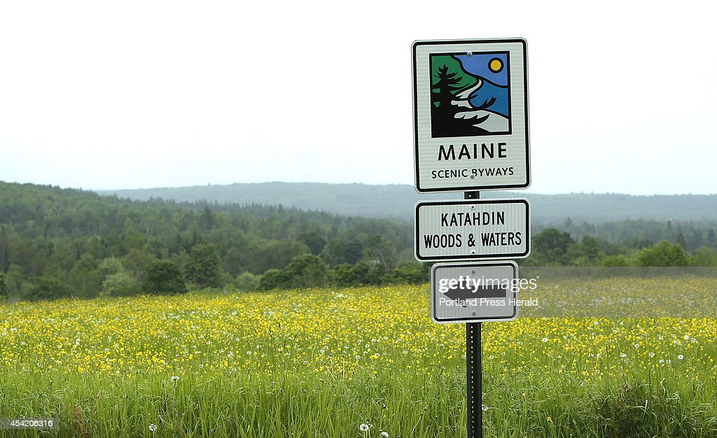 On Route 11 in Sherman, a sign shows the route of the Katahdin Woods & Waters scenic byway along a field of blooming flowers, photographed on Thursday, June 19, 2014.