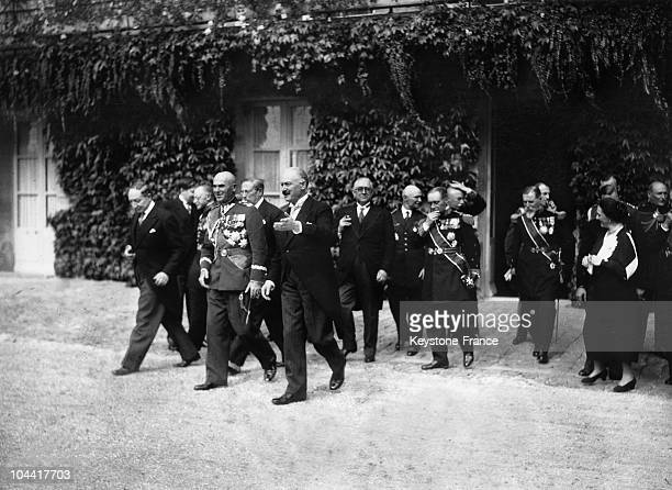 On September 6 the French Minister of Foreign Affairs Yvon DELBOS and the President of the French Republic Albert LEBRUN stand around Marshall Edward...