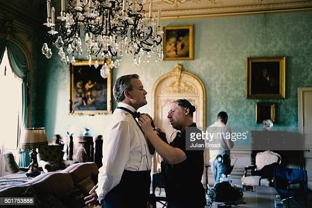 On set during the production of the last series of Downton Abbey with Hugh Bonneville as Robert Crawley photographed for Variety magazine on July 3...
