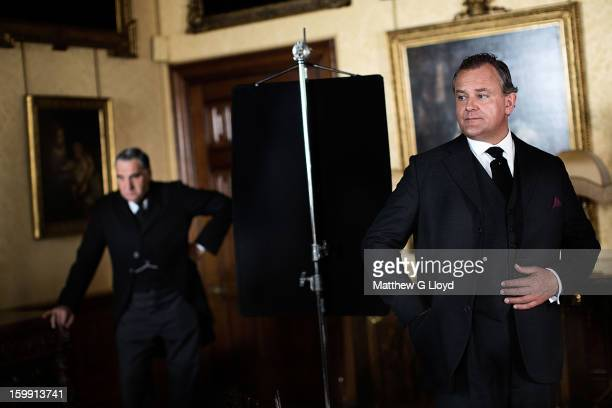 On set of Downton Abbey during production of series III with actors Jim Carter and Hugh Bonneville photographed for the Los Angeles Times on June 13...