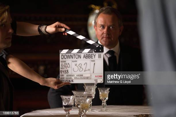 On set of Downton Abbey during production of series III with Hugh Bonneville playing Robert Crawley Earl of Grantham is photographed for the Los...