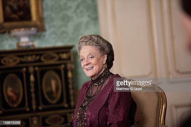 On set of Downton Abbey during production of series III with Maggie Smith as Violet Crawley Dowager Countess of Grantham is photographed for the Los...