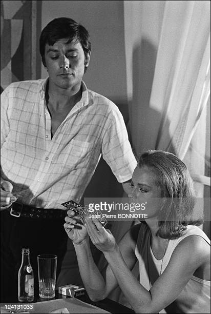 On set of 'La Piscine' directed by Jacques Deray In Saint Tropez France In August 1968 Alain Delon Romy Schneider
