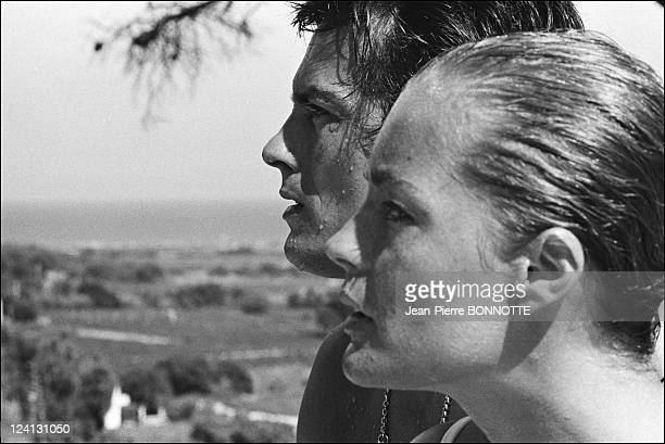 On set of 'La Piscine' directed by Jacques Deray In Saint Tropez France In August 1968 Alain Delon and Romy Schneider