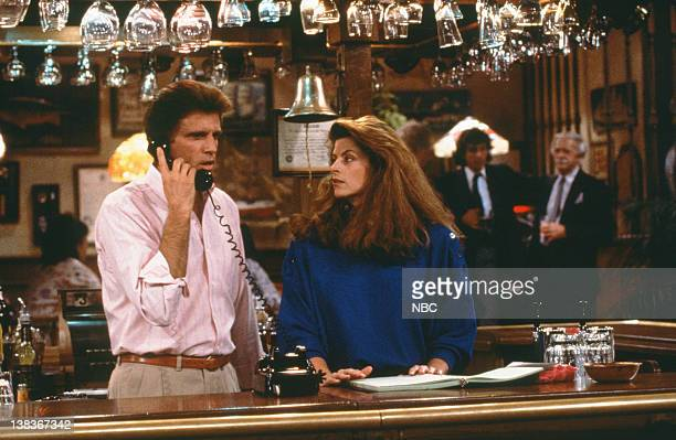 CHEERS ''I' on Sports' Episode 2 Air Date Pictured Ted Danson as Sam Malone Kirstie Alley as Rebecca Howe