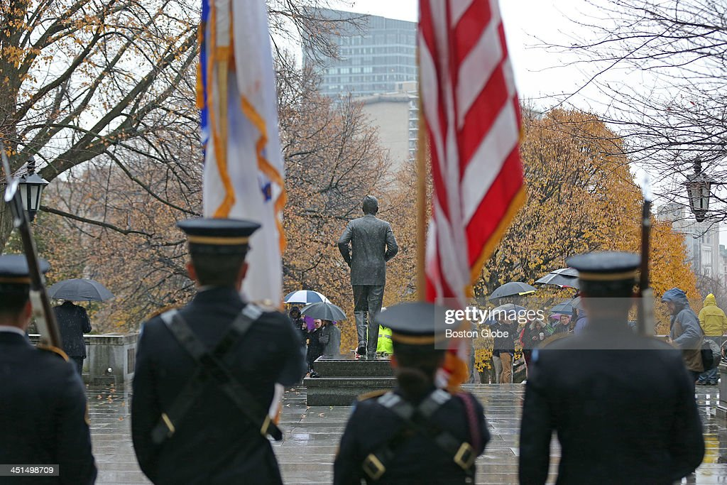 On the 50th anniversary of the death of President John F. Kennedy, there was a wreath laying ceremony at the Massachusetts State House with Gov. Deval Patrick.