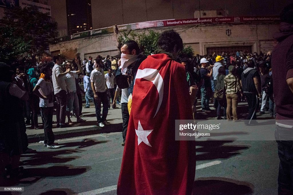 On the 6th day of protests in Istanbul Opposition groups fight in the Dolmabache area of the city where the Prime Ministers office isProtests began...