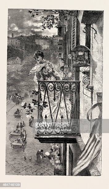 On The Balcony At Naples Italy Engraving 1882