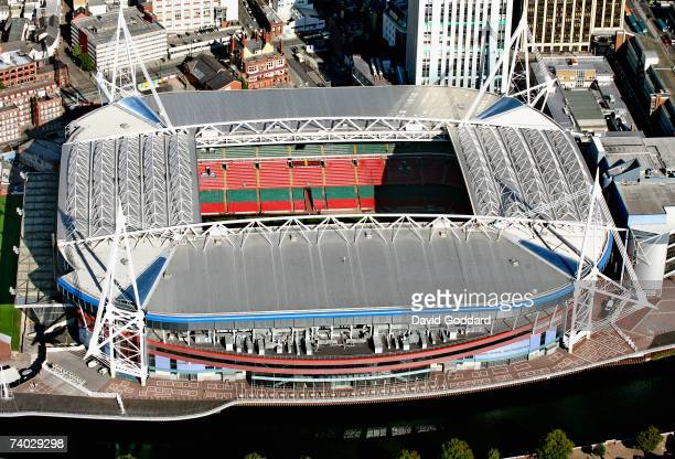 On the banks of the river Taff in the middle of Cardiff is the national stadium of Wales the Millennium Stadium in this aerial photo taken on 26th...