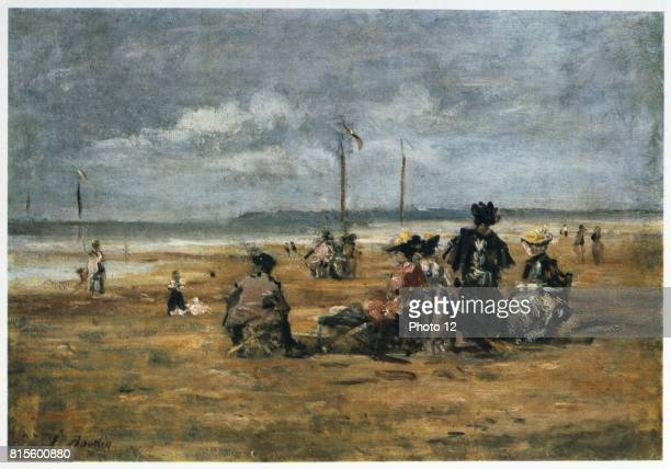 On the Beach' c1863 Oil on board Eugene Boudin French landscape and marine painter Women sitting in chairs on the sand