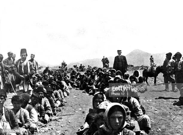 On the beach of Bazit north of Latakieh Armenian refugees waiting to embark Turkey Armenia