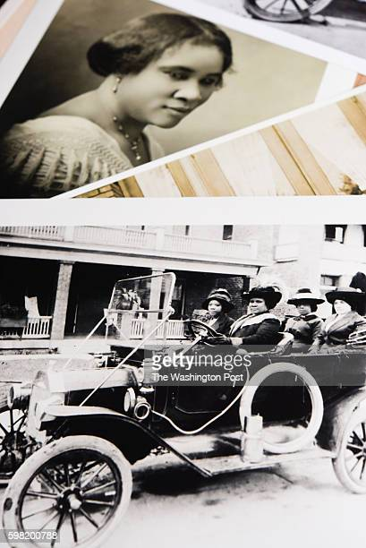 On the bottom is a picture of Madam CJ Walker driving a car outside of her Indianapolis home in 1912 On the top is the Iconic photo of her taken in...