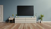 TV on the cabinet in modern living room,3d rendering