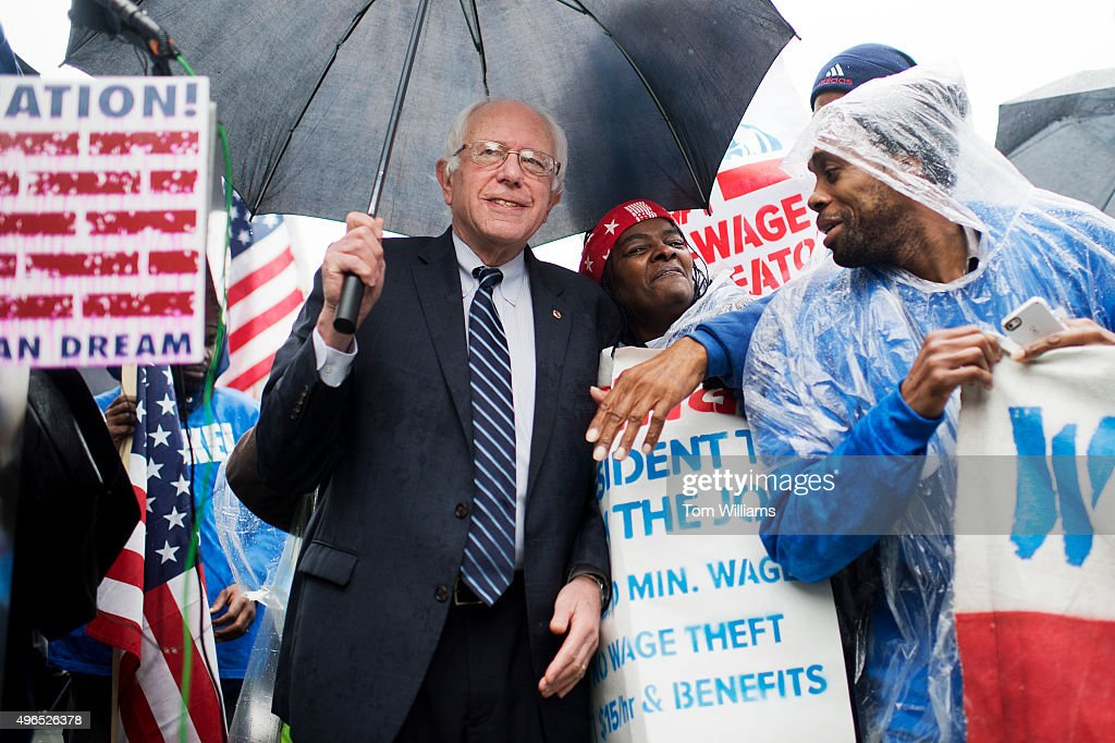 On the day of a Republican presidential debate Sen Bernie Sanders IVt attends a rally in Upper Senate Park with striking workers to call for a...
