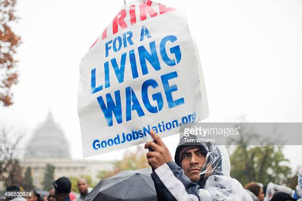 On the day of a Republican presidential debate striking workers attend a rally in Upper Senate Park with Sen Bernie Sanders IVt to call for a minimum...