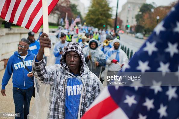 On the day of a Republican presidential debate striking workers march to a rally in Upper Senate Park with Sen Bernie Sanders IVt to call for a...