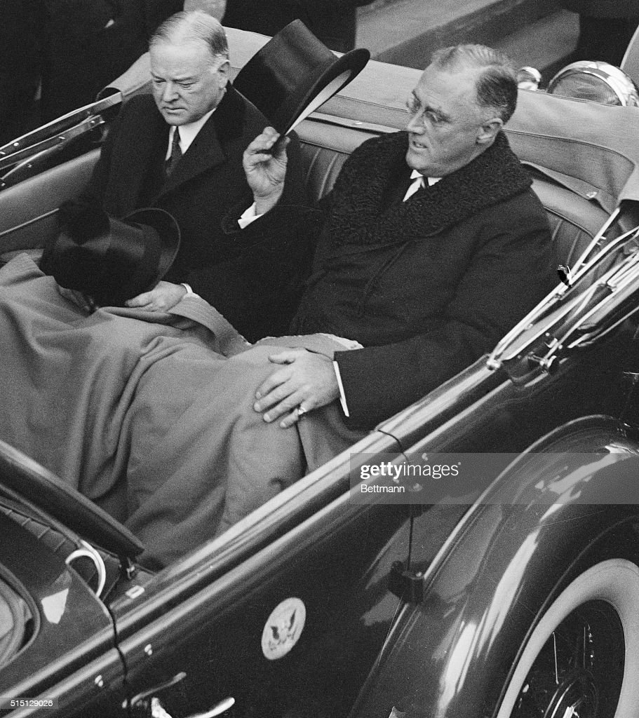 On the day of Franklin Delano Roosevelt's presidential inauguration he rides with his predecessor Herbert Hoover to the ceremony