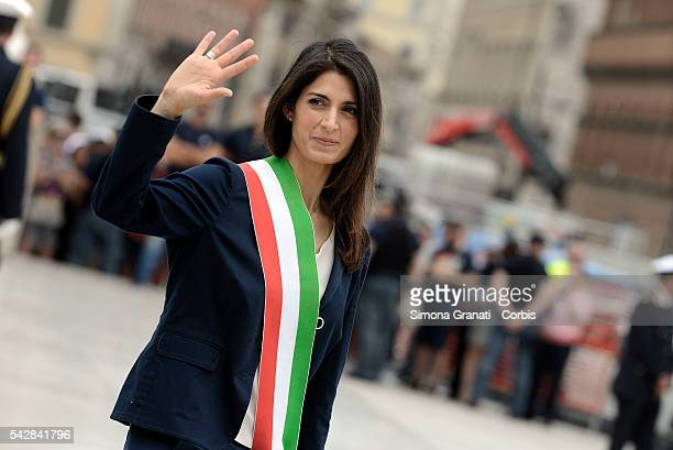 On the day of the settlement as mayor of Rome Virginia Raggi honors the Unknown Soldier at the Altar of the Fatherland on June 23 2016 in Rome Italy