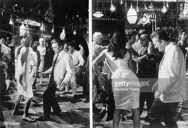On The Deck Of A Boat Moored On The River Tiber The American Actor Kirkdouglas Dance The ChaCha With The Italian Actress Dalia Lavi On October 09Th...